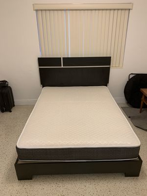 New black and white queen bed frame with the mattress FREE DELIVERY and installation for Sale in Hollywood, FL