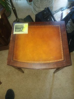 Old leather top end table for Sale in Oakland, CA