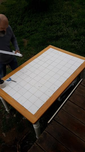 Farmhouse dining table 4 ft x 3.5 ft with tile top for Sale in Benton, KY