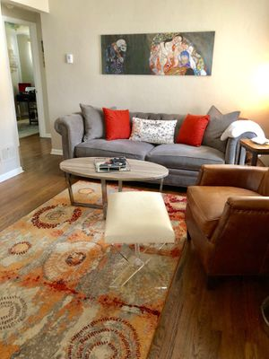 Down feather couch/pillows, rug, ottoman/stool, coffee table for Sale in Pittsburgh, PA