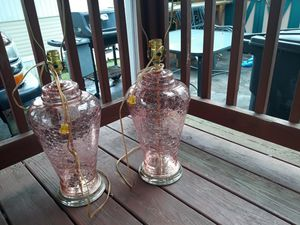 Pink crackle glass lamps for Sale in Reynoldsburg, OH