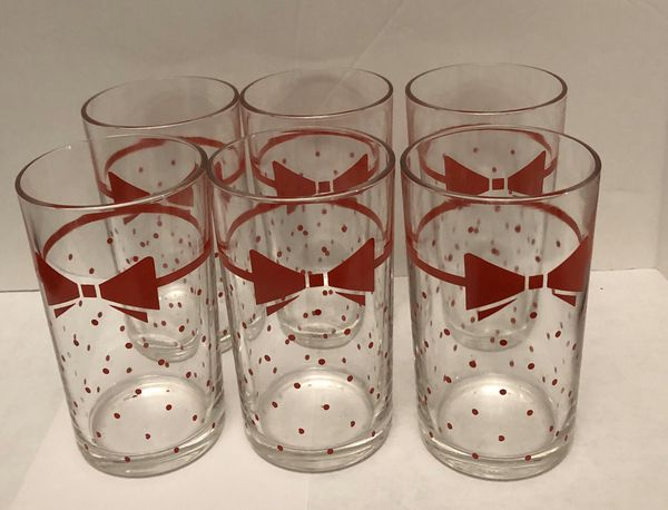 6 vintage dots and bows 8 oz glasses