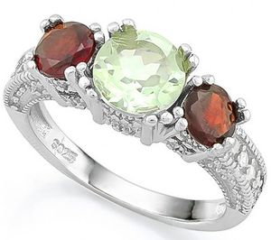 Garnet and green amethyst 3 stone ring in sterling silver for Sale in Bridgeport, WV