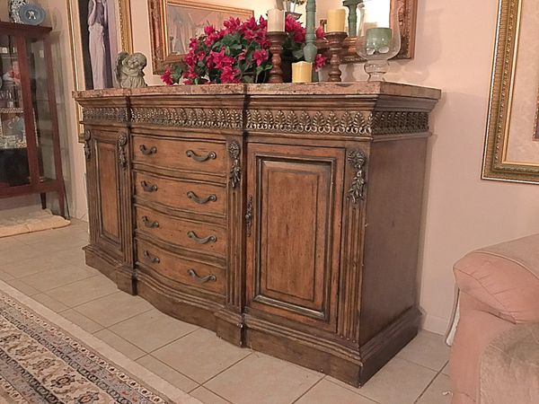 Granite top solid wood buffet table