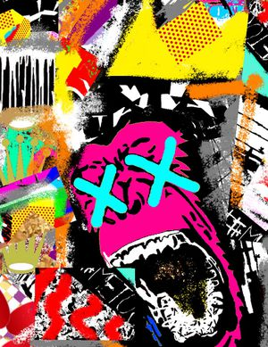 4FT X 3FT Wall Street POP Art Canvas Painting Graffiti Urban Abstract Acrylic Wood Frame Ape chimp Monkey primate gorilla for Sale in North Palm Beach, FL