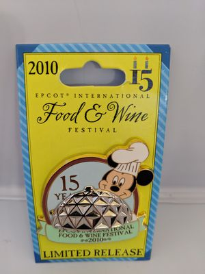 Disney limited release food and wine festival 15 years pin from 2010 with Mickey Mouse for Sale in Glendale, AZ