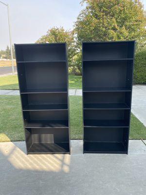 2 Tall Black Bookcases With Adjustable Shelves for Sale in Clovis, CA