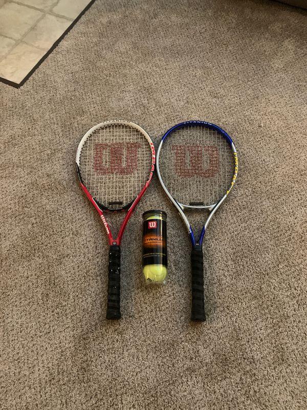 Wilson adult beginner tennis rackets w/ lightly used Titanium balls