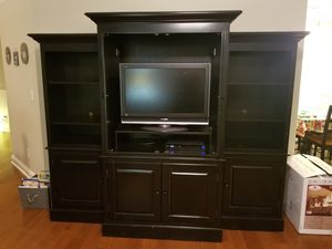 Black entertainment center with tv! for Sale in Dallas, GA