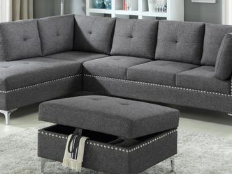 New! Grey Fabric Sectional Sofa and Ottoman *FREE SAME-DAY DELIVERY* for Sale in Baltimore,  MD
