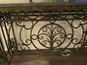 Stone ornate metal console with matching beveled glass metal coffee table for Sale in Fresno, CA