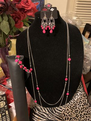 New 4pc jewelry set color silver and hot pink for Sale in Anaheim, CA