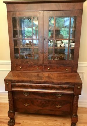 Stunning Antique Secretary Desk Hutch Armoire Clawfoot for Sale in Woodinville, WA
