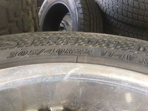 """22"""" Rims and Tires with All 4 Center caps and wheel spacers. Serious inquiries Only. 5 Lug Universal for Sale in Southaven, MS"""