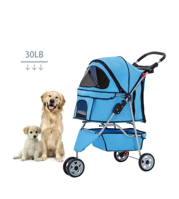 Pet Stroller cat and Dog cage 3-Wheel Stroller Travel Folding Baby Stroller with Large Storage Basket