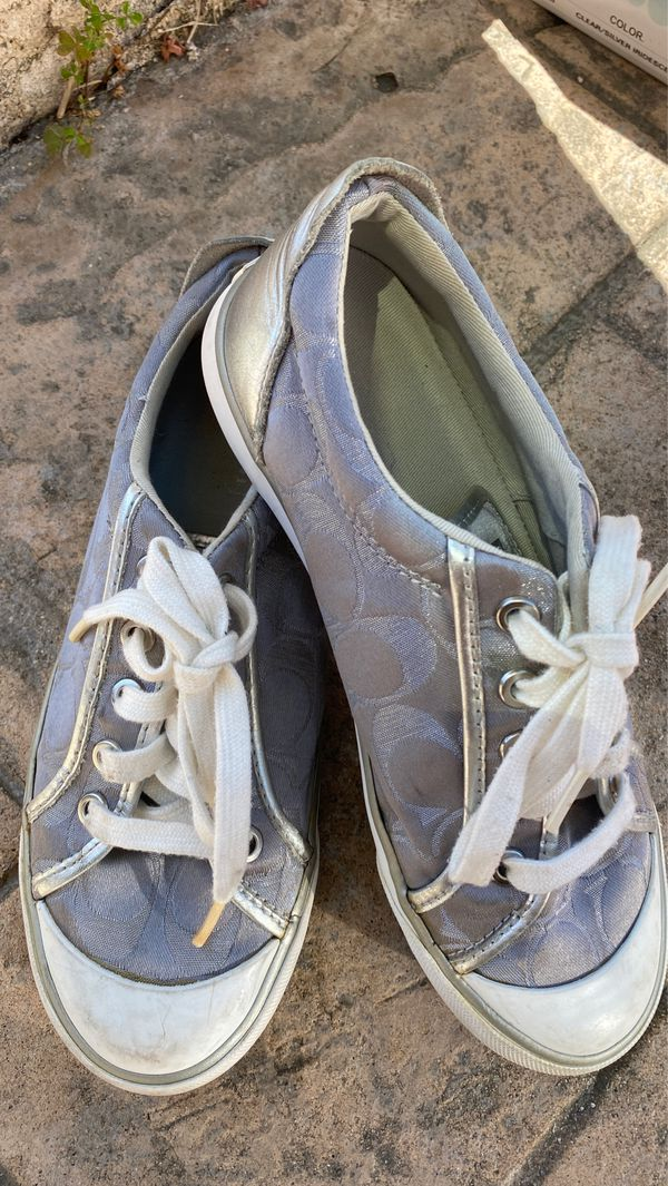Coach Sneakers, Silver, Size 6.5