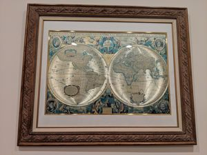 Beautiful world map in wood frame for Sale in Potomac, MD