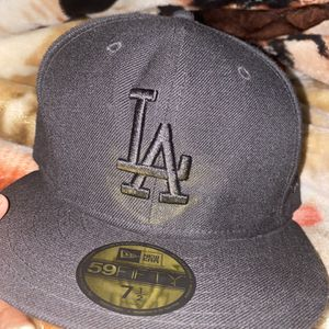 All Black New Era LA Dodgers Fitted Hat 59Fifty 7 1/2 for Sale in Phoenix, AZ