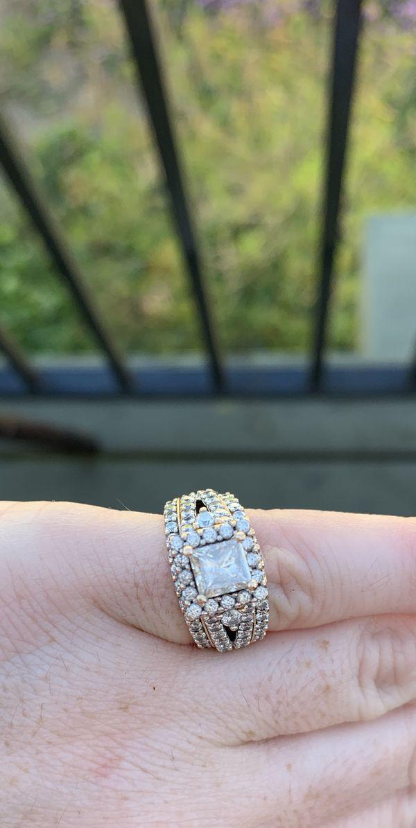 14k Rose Gold wedding ring set