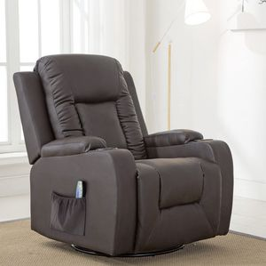 Leather Recliner Chair Modern Rocker with Heated Massage Ergonomic Lounge 360 Degree Swivel Single Sofa Seat with Drink Holders Living Room Chair (Br for Sale in La Habra, CA