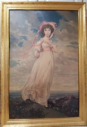 Large vintage print of oil painting girl in bonnet for Sale in Neavitt, MD