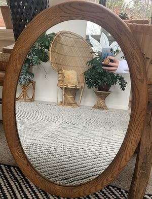 • vintage oak framed oval wall hanging mirror • for Sale in Issaquah, WA