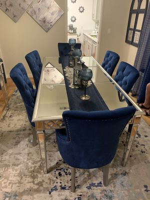 Mirrored seven piece dining set +Consol table for Sale in San Jose, CA