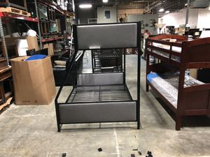 Brand New Black Metal and Grey Upholstered T/T Bunk Bed for Sale in Nashville, TN