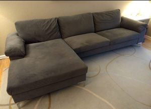 Must Sell! Velvet Grey Chaise Couch Sofa Sectional for Sale in Renton, WA