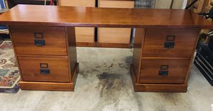 Solid Wood Desk with Hanging File Drawers for Sale in Lake Oswego, OR