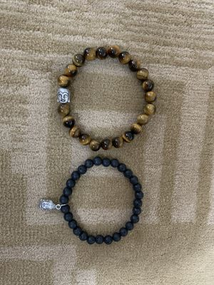 Tiger eye stone Men's bead bracelet with Buddha charm and lava bracelet with hanging charm Buddha Each $15 for Sale in Concord, NC