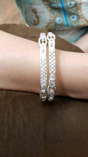 Ladies bangle silver with white zircone stone size 6.5 cm for Sale in March Air Reserve Base, CA