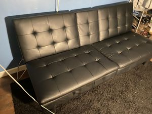 Black Leather Futon for Sale in Victorville, CA
