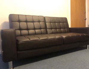 Brown Leather Futon Sofa Bed with Cupholders!! Brand New Free Delivery for Sale in Chicago, IL