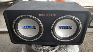 """2 - 12"""" inch MTX Audio Comp speakers, & KICKER 1200 WATT AMP. Trade for: Nintendo Switch"""" PS4 Pro """" Or Xbox one X. for Sale in Fontana, CA"""