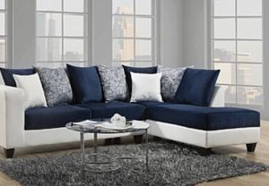 Blue and White Sectional Sofa Couch!!Brand New Free Delivery for Sale in Chicago, IL