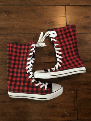 Red/Black lace up high tops for Sale in Round Rock, TX