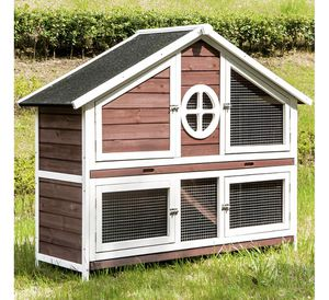 """50"""" Wooden Chicken Coop Rabbit Hutch, 2 Story Outdoor Indoor Waterproof Rabbit Cage Kit with Removable Tray & Roof, Garden Backyard Bunny Cage/Guinea for Sale in Frostproof, FL"""