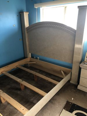 Queen bed set in good condition. Comes with bed frame, head board, two side tables, dresser and mirror for Sale in Torrance, CA