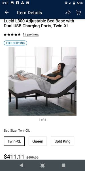 LUCID L300 Adjustable Bed Base - 5 Minute Assembly - Dual USB Charging Stations - Head and Foot Incline - Wireless Remote Control - Upholstered for Sale in Houston, TX