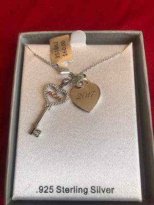 "925 Sterling Silver ""MOM 2017"" key lock necklace for Sale in Rockville, MD"