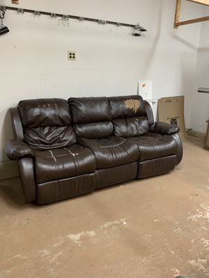 FREE ! Leather feel sofa with two builtin recliners. for Sale in Reston, VA