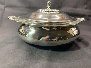 Serving dish - silver-plate with Pyrex insert for Sale in Frisco, TX