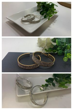 Large Round Circle Bling Hoop Rhinestone Earrings, Gold and Silver Color (2 Sets) for Sale in Tustin, CA
