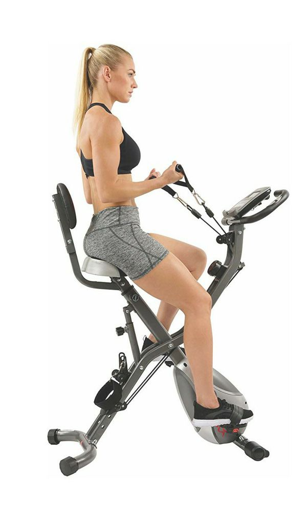 Brand New Sunny Health & Fitness Foldable Semi Recumbent Magnetic Upright Exercise Bikeble