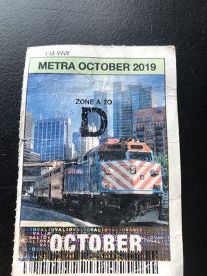 Metra D pass October 2019 for Sale in Berwyn, IL