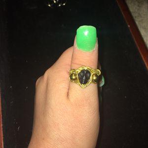 Gold & Black Obsidian Skull Ring | Genuine Natural Crystal Gemstone Jewelry for Sale in Hazel Park, MI