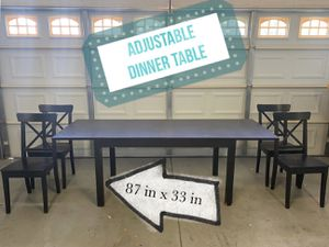 Wooden Adjustable Dinner Table with 4 Chairs for Sale in Chandler, AZ