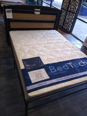 Metal Queen size platform bed frame with 8 inch BedTech Plush Top Innerspring Mattress included for Sale in Glendale, AZ