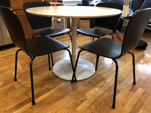 CB2 White Dining Table with Crate and Barrel Black chairs for Sale in Boston, MA